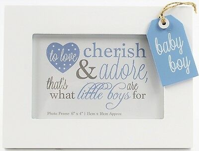 BABY BOY Wooden Photo Frame Blue Tag Christening Shower GIFT Nursery Decoration