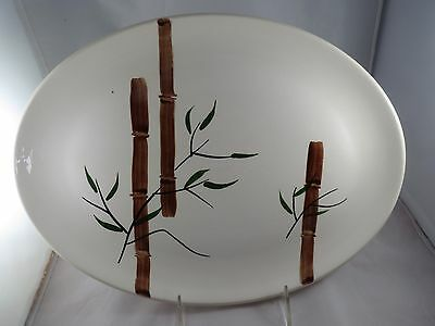 Vtg American Heritage Oval Serving Plate Platter Hand Painted Bamboo Design EEUC