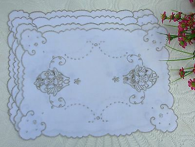 Lot 4 Vintage Madeira Pale Ecru Cutwork Doilies Bread Tray Liners Table Scarves