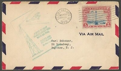 1929 Us First Flight Night Air Mail Cover Cleveland Pittsburgh 5C Air Mail Stamp