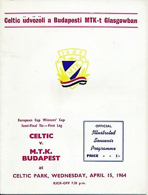 CUP WINNERS CUP SEMI FINAL 1964 Celtic v MTK Budapest
