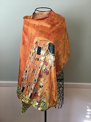 100% Silk Scarf, Gustav Klimt The Kiss, Golden Gold Kiss, Hand Rolled Edge