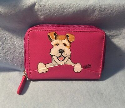 hand painted wire fox terrier pink leather accordion credit card case