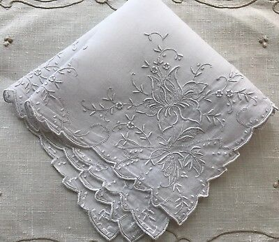 A+ Vintage White Linen Hankie  Madeira Style Floral Embroidery Wedding Bride