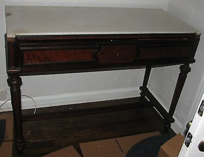 1860 Mahogany & Walnut desk Secretary, marble top, 4 drawers needs restoration
