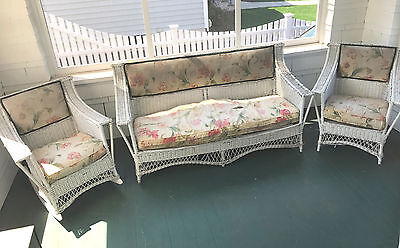 ANTIQUE 3 PC BAR HARBOR WICKER SET - Sofa, Rocker & Chair - Bloch