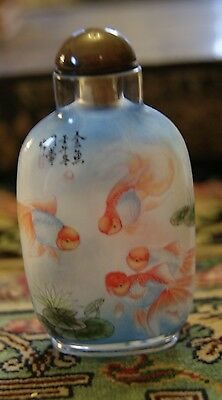 Signed Reverse Painted Chinese Snuff Bottle Gold Fish