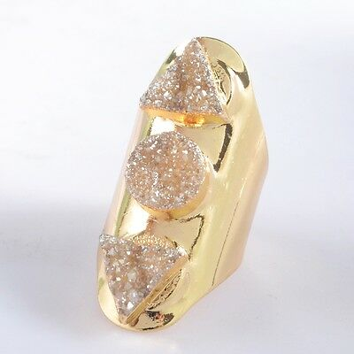 Defective Size 7 Natural Agate Titanium Champagne Druzy Ring Gold Plated H91423