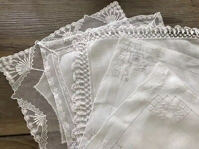 A+ Vintage Lot 5 Lace Embroidered White Wedding Bridal Hankies Handkerchiefs