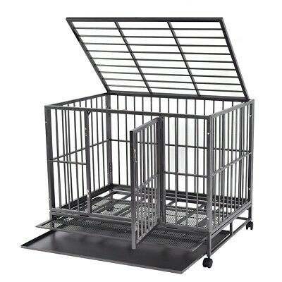 Large Heavy duty 42'' steel wire dog pet cage kennel cleanup tray lockable wheel