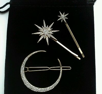 Vintage Deco Hair Clips Cresent Moon Stars Bridal/Wedding Anthropologie £32 New