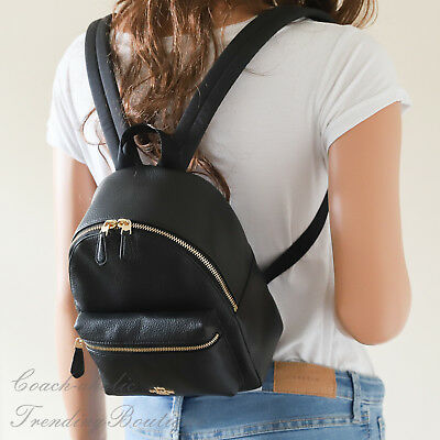 New Coach Mini Charlie Backpack In Black Pebble Leather F38263