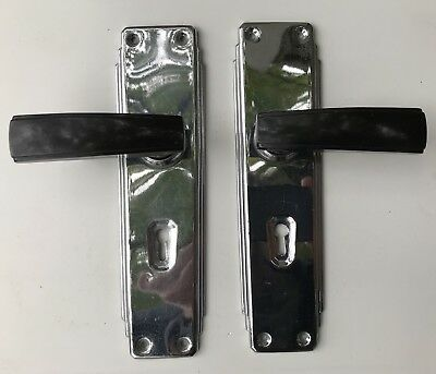 Incredibly Rare Art Deco Chrome And Black Bakelite Door Handles