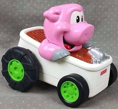 Fisher Price Pig in a Hot Rod Tub Shake & Go Motorized Toy Car Music Sounds FUN!