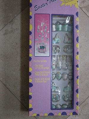 """Vintage 18"""" Easter Tree With wooden wood Egg bunny misc Ornaments NEW"""