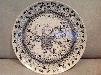 """Rosenthal Wall plate illustrated by """" Bjorn Wiinblad """" with two skaters"""