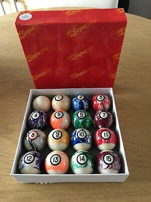 "2"" Supapro Pool/Billiards 16 Ball Marble Set New !!"