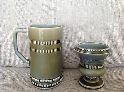"2 Vintage "" Irish Wade "" pottery items - a Vase and large  tankard"