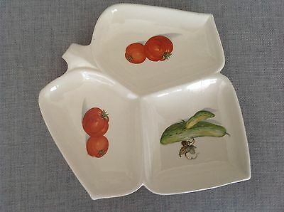 Vintage Sandygate Pottery dish decorated with vegetables