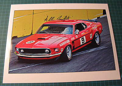 Photo of Allan Moffat 1969 Mustang with autograph - SCCA Racing - SVRA -Race Car