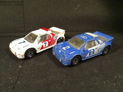 Vintage 1986 Matchbox Lot of 2 Variations Ford RS200 Blue & White/Red