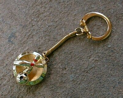 Vintage Gold-Colored Metal BOWLING KEYCHAIN