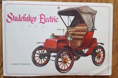 1970s Print 6x9 calendar picture of 1902 Studebaker Electric Runabout Man Cave