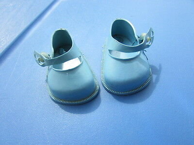 "Toni Doll Shoes Blue Mary Janes 14""  Fits 15"" Shirley Temple Pearl Buttons"