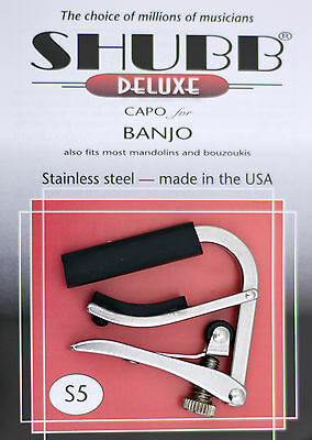 SHUBB S5 HIGH QUALITY STAINLESS STEEL CAPO FOR Banjo/Mandolin/Bouzouki  USA MADE