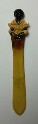 Celluloid Black African Americana Holding Baby Alligator Letter Opener Pencil