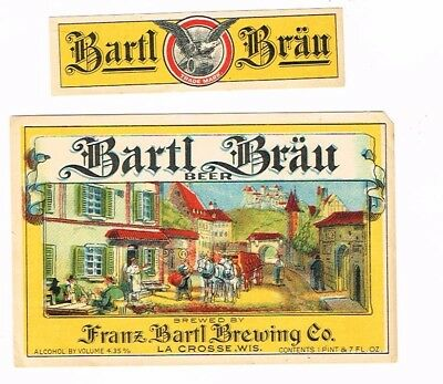 1900s Pre-Pro Unused Franz Bartl Brau Beer label set La Crosse Wisconsin T-Trove