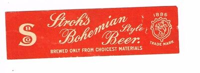 1930s MICHIGAN Detroit Stroh's Beer Neck Label Tavern Trove