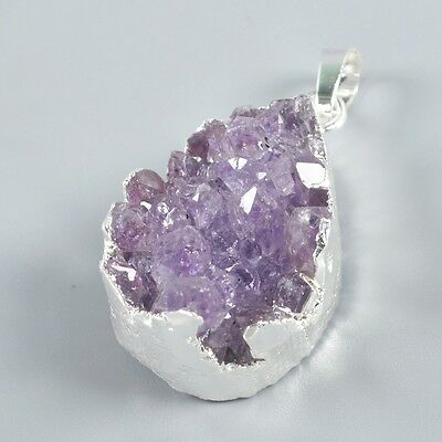 Uneven Natural Amethyst Druzy Pendant Bead Silver Plated H93334