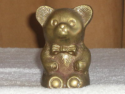 Vintage Brass Bear Bank 4 1/2 Inches Tall