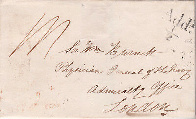 1837 Add!½d PRE-STAMP WRAPPER TO PHYSICIAN GENERAL OF THE NAVY ADMIRALTY OFFICE
