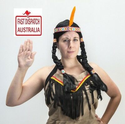 Womens INDIAN WIG with Plait Hair Native American Party Costume Headdress.cheap