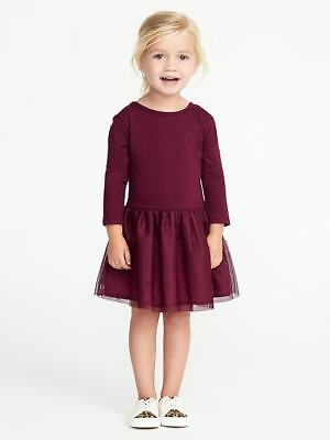 NWT Old Navy Toddler Girls Size 12 18 24 Months 2t 3t 5t Burgundy Tutu Dress