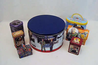 Vintage Tin Containers Lot of 7, USA Armed Services, Toy Story, Walmart Brand...