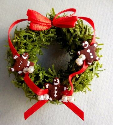Dollhouse Miniature ~ Christmas ~ Wreath With Gingerbread Men