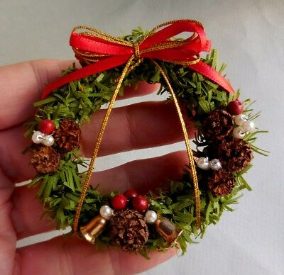 Dollhouse Miniature ~ Christmas ~ Wreath With Pine Cones