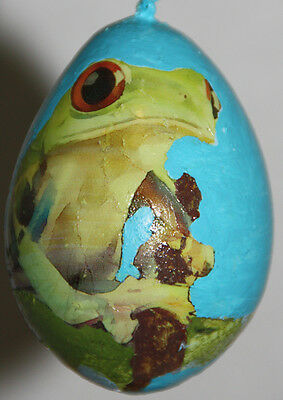 gourd Easter egg, garden or Christmas ornament with frog