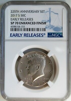 2017 S Kennedy Half Dollar 225th Ann. Set Enhanced Finish NGC SP70 Early Release