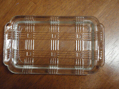 "Vintage Criss Cross Butter Dish Bottom 1# Block or 2 Sticks 4""x7"" Clear Glass"
