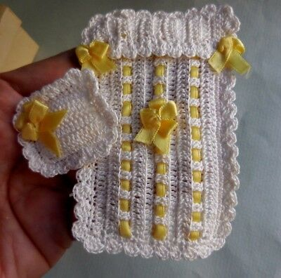 Dollhouse Miniature ~  Crocheted Baby Blanket And Pillow ~ Handmade