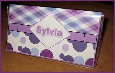 Purple Plaid polka dots  personalized name checkbook cover
