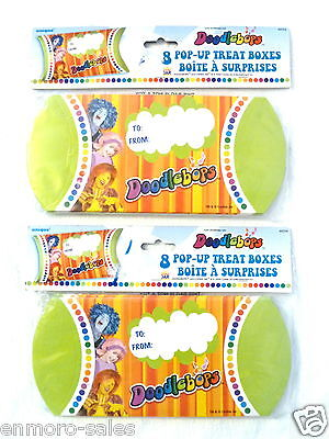 LOT OF 2 PACKAGES OF 8 each DOODLEBOPS ILLUSTRATED POP-UP TREAT BOXES