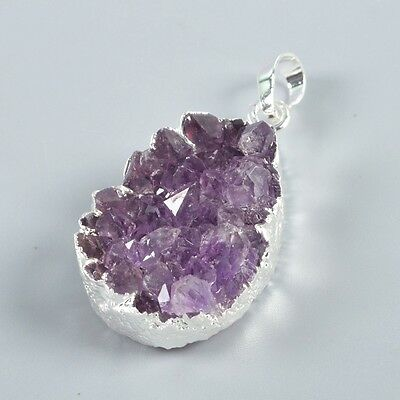 Uneven Natural Amethyst Druzy Pendant Bead Silver Plated H93333