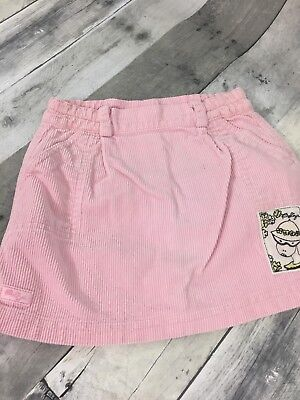 "VTG Poliya Pink Corduroy Skirt Sz 2 - 3 Button Back Pockets Waist 20"" L 10.5"""