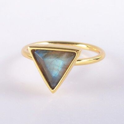 Size 5.75 Natural Labradorite Faceted Bezel Ring Gold Plated T037397
