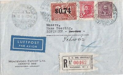 Uruguay 1946  Registered Airmail Cover Sent To Switzerland
